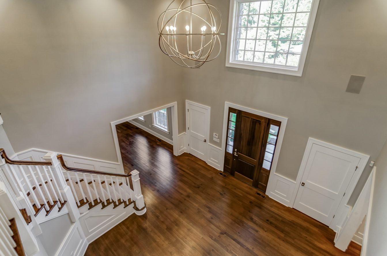 16 – View from Second Floor Landing of Gorgeous Entrance Hall – 20 Troy Drive, Example of Most Recent Project from Builder